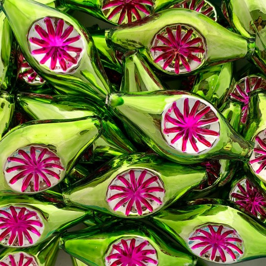 """Extra Large Green and Hot Pink Double Indent Reflector Bead 2-1/4"""" ~ Czech Republic"""