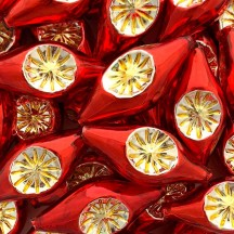 """Extra Large Red and Gold Double Indent Reflector Bead 2-1/4"""" ~ Czech Republic"""