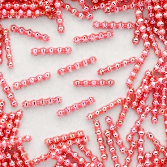 24 Light Pink Blown Glass Faceted 5 Bump Tube Beads 4 mm ~ Czech Republic