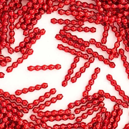 24 Red Blown Glass Faceted 5 Bump Tube Beads 4 mm ~ Czech Republic