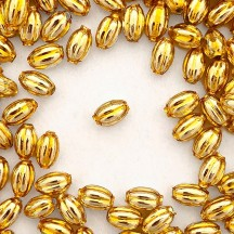 15 Small Gold Ribbed Olive Blown Glass Beads 10mm ~ Czech Republic