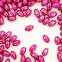 15 Small Hot Pink Ribbed Olive Blown Glass Beads 10mm ~ Czech Republic