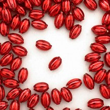 15 Small Red Ribbed Olive Blown Glass Beads 10mm ~ Czech Republic