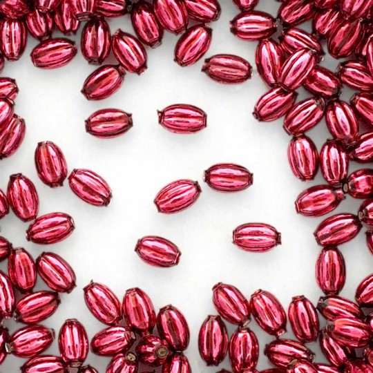 15 Small Burgundy Ribbed Olive Blown Glass Beads 10mm ~ Czech Republic