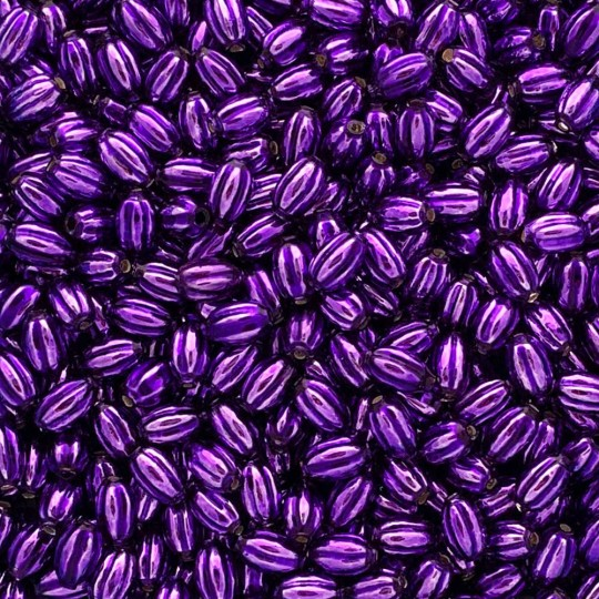 15 Small Purple Ribbed Olive Blown Glass Beads 10mm ~ Czech Republic