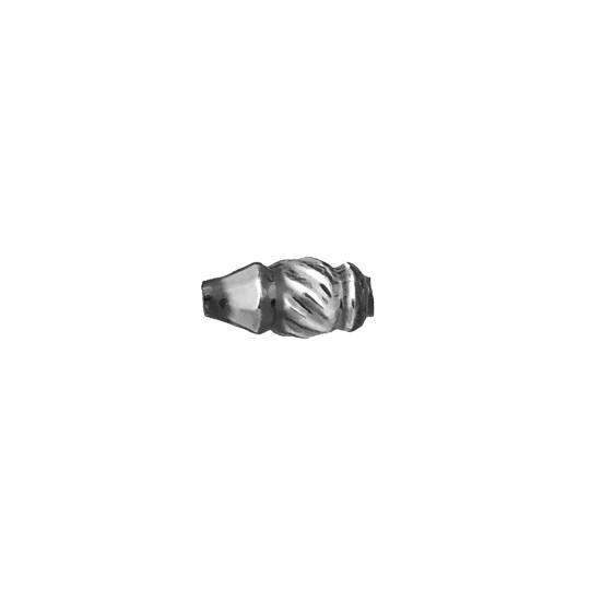 10 Small Silver Fancy Twist Blown Glass Beads 12mm ~ Czech Republic