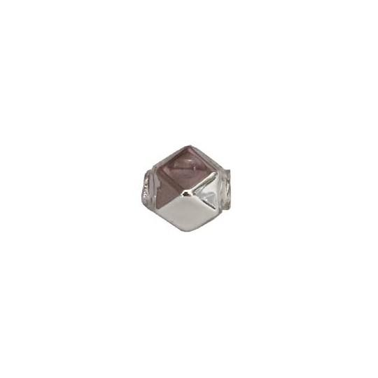10 Silver Faceted Cube Blown Glass Beads 10mm ~ Czech Republic