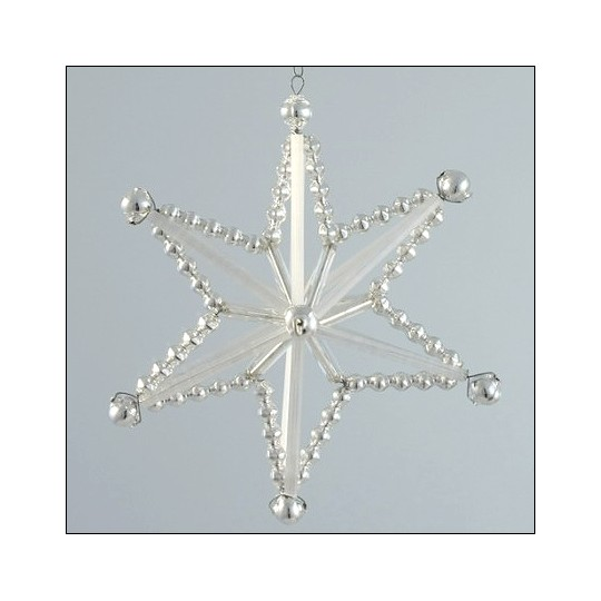 Magic Star Ornament Glass Bead Project Kit ~ Silver and Matte White  ~ Czech Republic
