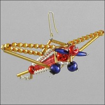 Airplane Ornament Glass Bead Project Kit ~ Red, Gold, Blue  ~ Czech Republic