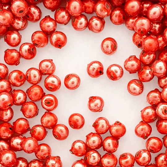 15 Pearl Coral Round Glass Beads 10 mm ~ Czech Republic
