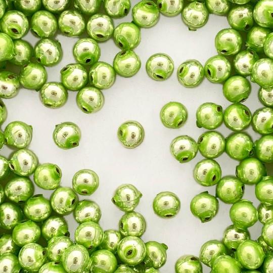 15 Pearl Green Round Glass Beads 10 mm ~ Czech Republic