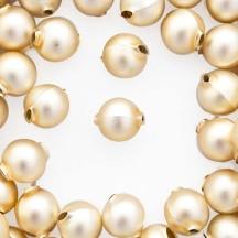 10 Matte Champagne Round Glass Beads 14 mm ~ Czech Republic