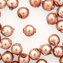 10 Pearl Rose Pink Round Glass Beads 14 mm ~ Czech Republic