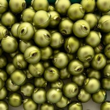 8 Matte Green Round Glass Beads 18 mm ~ Czech Republic