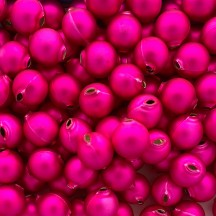 8 Matte Hot Pink Round Glass Beads 18 mm ~ Czech Republic