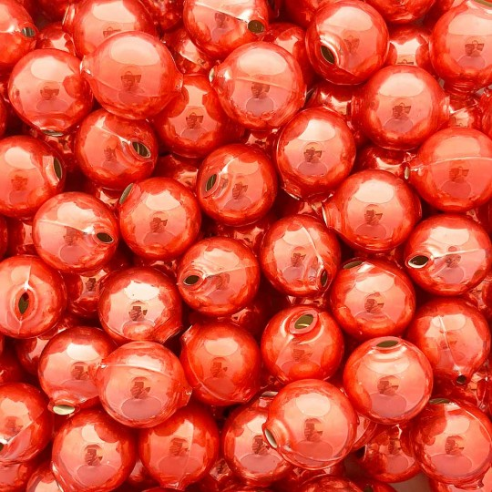 8 Pearl Coral Round Glass Beads 18 mm ~ Czech Republic