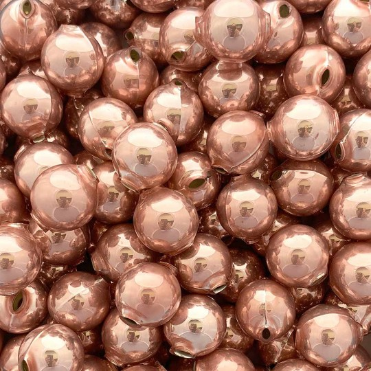 8 Pearl Rose Pink Round Glass Beads 18 mm ~ Czech Republic