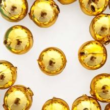 2 Gold XL Round Glass Beads 25 mm ~ Czech Republic