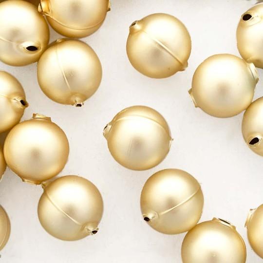 2 Matte Champagen XL Round Glass Beads 25 mm ~ Czech Republic