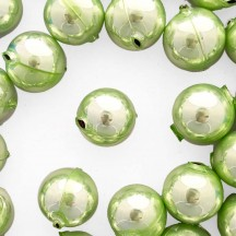 2 Pearl Green XL Round Glass Beads 25 mm ~ Czech Republic