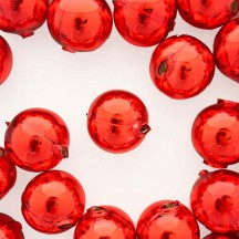 2 Red XL Round Glass Beads 25 mm ~ Czech Republic