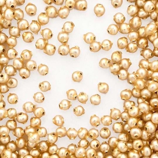 30 Matte Champagne Round Glass Beads 6 mm ~ Czech Republic