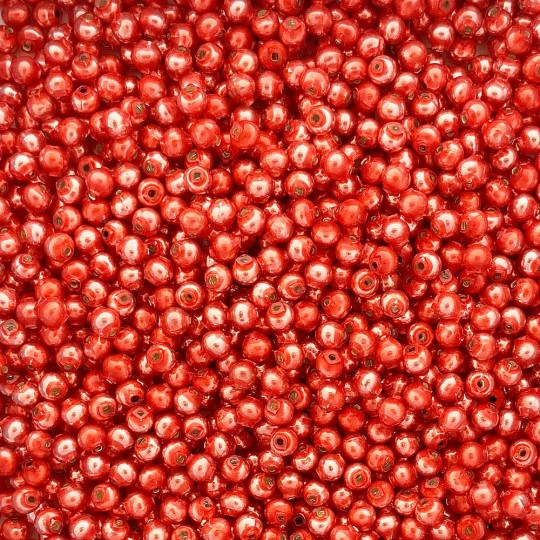 30 Pearl Coral Round Glass Beads 6 mm ~ Czech Republic
