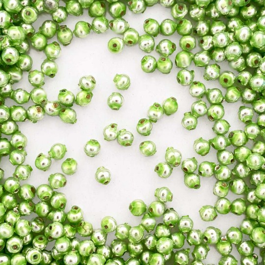30 Pearl Green Round Glass Beads 6 mm ~ Czech Republic