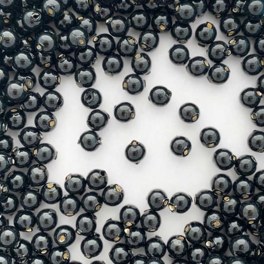 30 Black Round Glass Beads 8 mm ~ Czech Republic