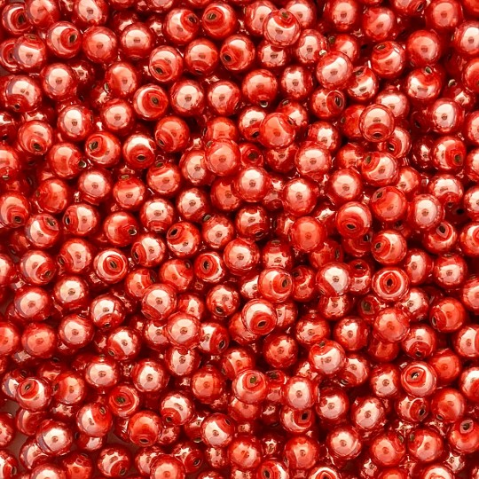 30 Pearl Coral Round Glass Beads 8 mm ~ Czech Republic