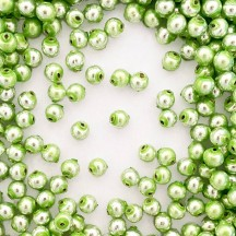 30 Pearl Green Round Glass Beads 8 mm ~ Czech Republic