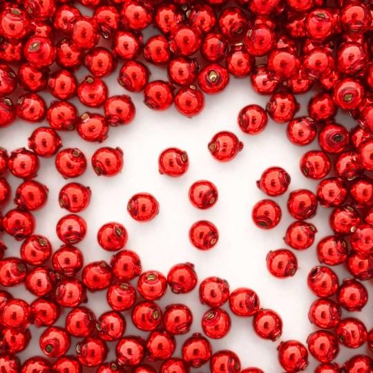 30 Red Round Glass Beads 8 mm ~ Czech Republic