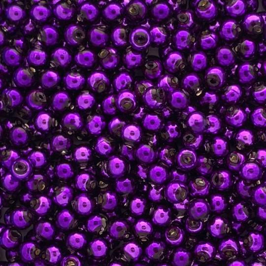 30 Purple Round Glass Beads 8 mm ~ Czech Republic