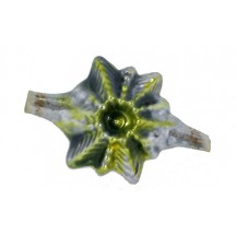 Large Chartreuse Green Star Victorian-style Blown Glass Bead ~ Germany ~ 1-3/4""