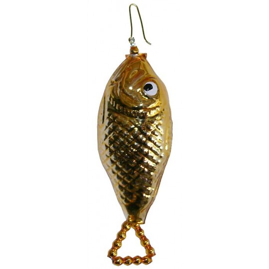 "Gold Fish Blown Glass Bead Ornament ~ 3-1/2"" ~ Czech Republic"