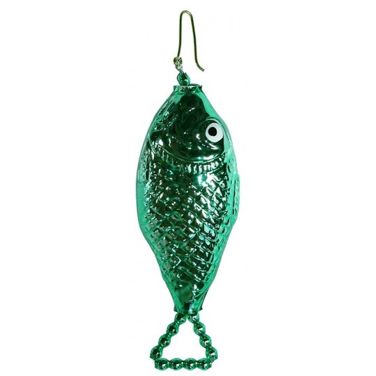 "Green Fish Blown Glass Bead Ornament ~ 3-1/2"" ~ Czech Republic"
