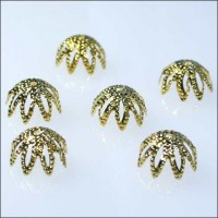6 Pointed Bead Caps ~ Gold ~ Czech Republic