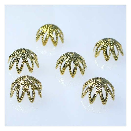 10 Pointed Bead Caps ~ Gold ~ Czech Republic