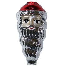 "Extra Large Silver Santa Face Figural Glass Bead 3"" ~ Czech Republic"