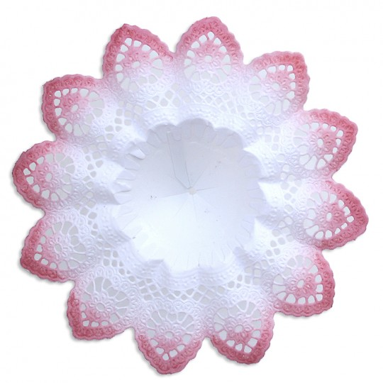 "Medium Paper Lace Bouquet Holder in White with Dusty Rose ~  Set of 1 ~ 6-5/8"" across"