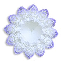 "Medium Paper Lace Bouquet Holder in White with Lilac ~  Set of 1 ~ 6-5/8"" across"