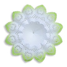 "Medium Paper Lace Bouquet Holder in White with Spring Green ~  Set of 1 ~ 6-5/8"" across"