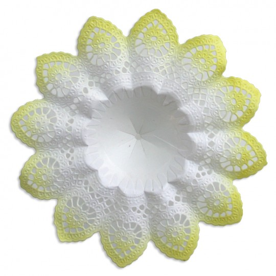 "Medium Paper Lace Bouquet Holder in White with Yellow ~  Set of 1 ~ 6-5/8"" across"