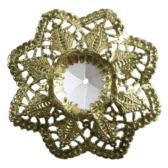 "Petite Paper Lace Flower Design Bouquet Holders in Gold ~ Set of 3 ~ 3"" across"