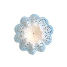 "Small Paper Lace Flower Bouquet Holders in White with Blue ~ Set of 4 ~ 3-3/4"" across"