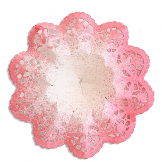 "Small Paper Lace Flower Bouquet Holders in White with Coral ~ Set of 4 ~ 3-3/4"" across"