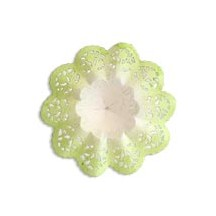 "Small Paper Lace Flower Bouquet Holders in White with Green ~ Set of 4 ~ 3-3/4"" across"