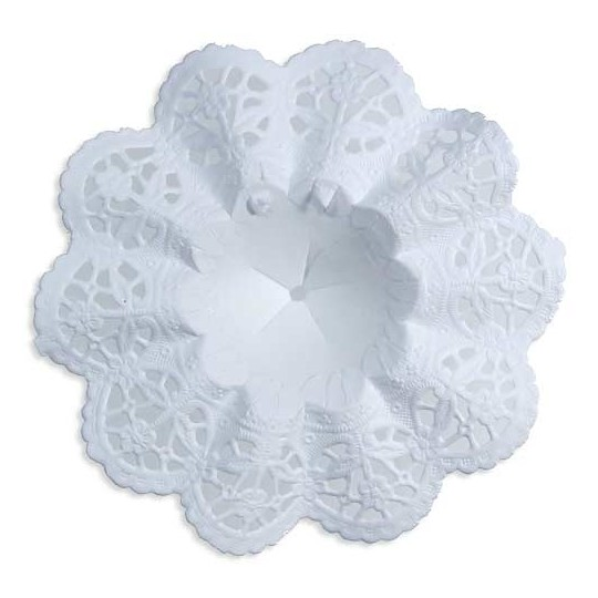 "Small Paper Lace Flower Bouquet Holders in White ~ Set of 4 ~ 3-3/4"" across"