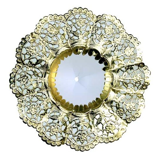 "Medium Paper Lace Flower Bouquet Holders in Gold ~ Set of 2 ~ 5-1/8"" across"