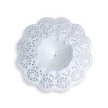 "Medium Paper Lace Flower Bouquet Holders in White ~ Set of 3 ~ 5-1/8"" across"